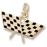Gold Plated Double Crossed Checkered Flags Charm