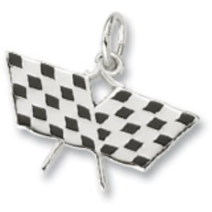 Silver Plated Crossed Checkered Flags Charm
