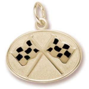 Oval Gold Plated Crossed Checkered Flags Charm
