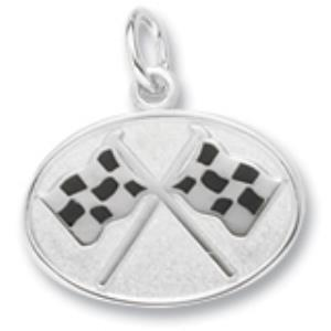 Oval Silver Plated Crossed Checkered Flags Charm