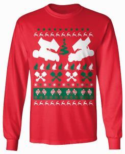 Clearance 12 Rr Ugly Christmas Sprint Car Long Sleeve Tshirt Red