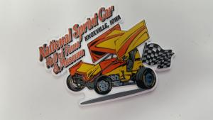 Orange and Yellow Winged Sprint Car Magnet