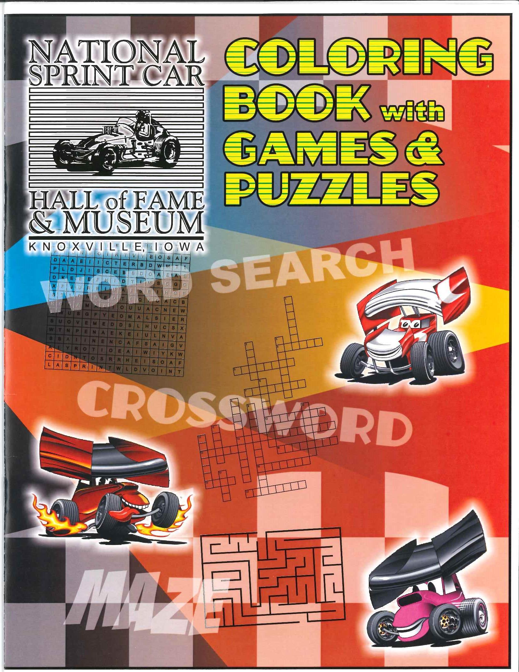 National Sprint Car Hall of Fame Coloring Book with Puzzles and Games
