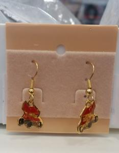 Winged Red Dangle Sprint Car Earrings