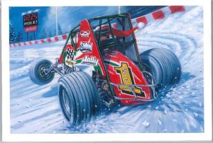 Chrismas Cards (non winged car on snow covered track)