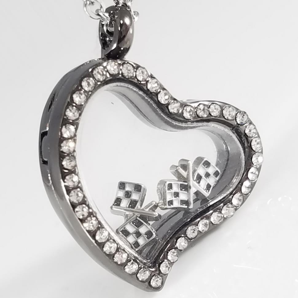 Checkered Flag Floating Charm Heart Necklace