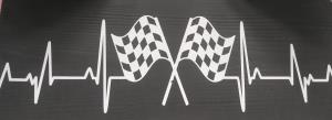 """Heartbeat with Checkered Flags"" wood sign"