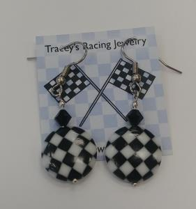 Round glass checkered dangle earrings