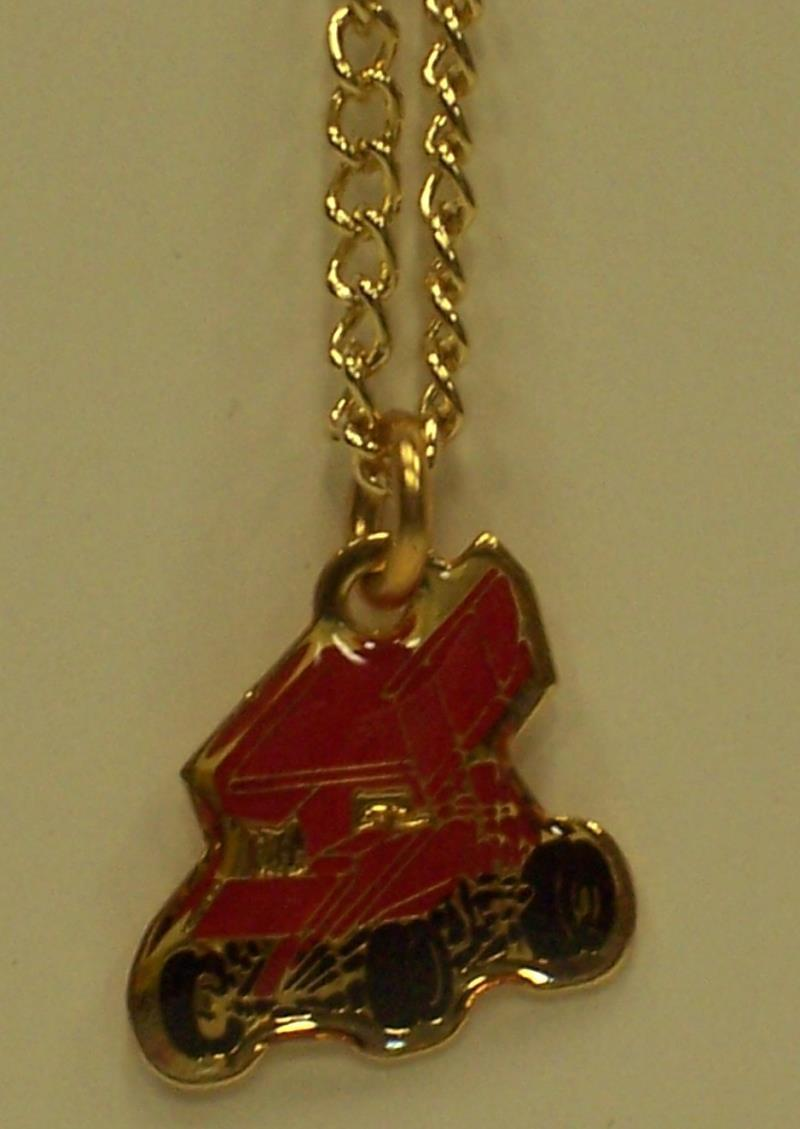 Winged Red Sprint Car Necklace