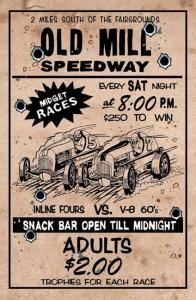 Metal Embossed Poster - Old Mill Speedway