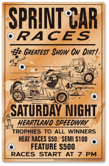 Metal Embossed Poster - Sprint Car Races
