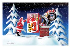 Christmas cards (Santa trying to get car down the chimney)