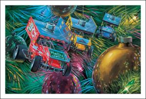 Christmas Cards - (Sprint Car Ornaments)