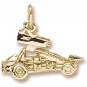 Gold Plate Sprint Car Charm w/wings